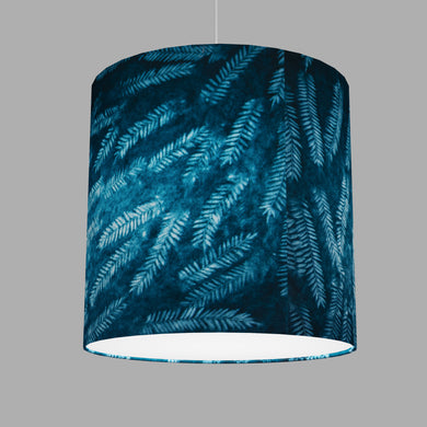 Drum Lamp Shade - B106 ~ Resistance Dyed Teal Fern, 40cm(d) x 40cm(h)