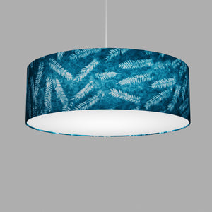 Drum Lamp Shade - B106 ~ Resistance Dyed Teal Fern, 60cm(d) x 20cm(h)