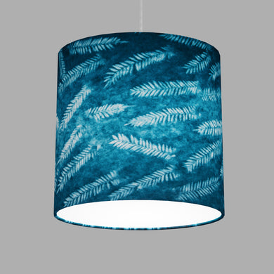 Oval Lamp Shade - B106 ~ Resistance Dyed Teal Fern, 30cm(w) x 30cm(h) x 22cm(d)