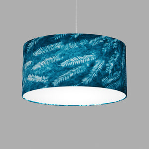 Oval Lamp Shade - B106 ~ Resistance Dyed Teal Fern, 40cm(w) x 20cm(h) x 30cm(d)
