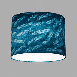 Oval Lamp Shade - B106 ~ Resistance Dyed Teal Fern, 40cm(w) x 30cm(h) x 30cm(d)