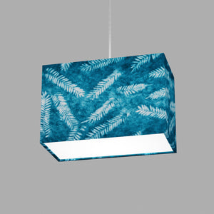 Rectangle Lamp Shade - B106 ~ Resistance Dyed Teal Fern, 30cm(w) x 20cm(h) x 15cm(d)