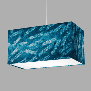 Rectangle Lamp Shade - B106 ~ Resistance Dyed Teal Fern, 50cm(w) x 25cm(h) x 25cm(d)