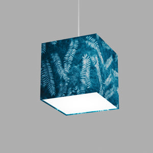 Square Lamp Shade - B106 ~ Resistance Dyed Teal Fern, 20cm(w) x 20cm(h) x 20cm(d)