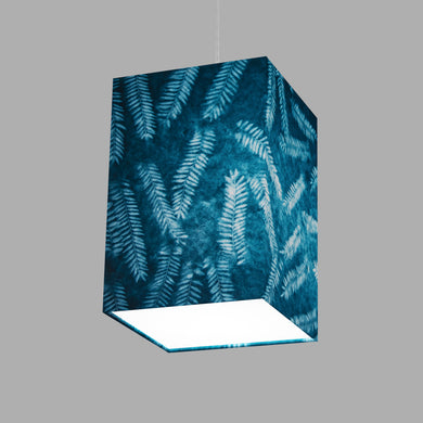 Square Lamp Shade - B106 ~ Resistance Dyed Teal Fern, 20cm(w) x 30cm(h) x 20cm(d)