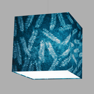 Square Lamp Shade - B106 ~ Resistance Dyed Teal Fern, 30cm(w) x 30cm(h) x 30cm(d)