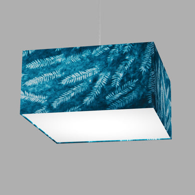 Square Lamp Shade - B106 ~ Resistance Dyed Teal Fern, 40cm(w) x 20cm(h) x 40cm(d)