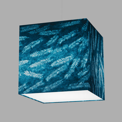 Square Lamp Shade - B106 ~ Resistance Dyed Teal Fern, 40cm(w) x 40cm(h) x 40cm(d)