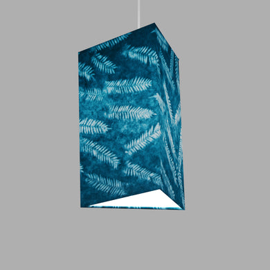 Triangle Lamp Shade - B106 ~ Resistance Dyed Teal Fern, 20cm(w) x 30cm(h)