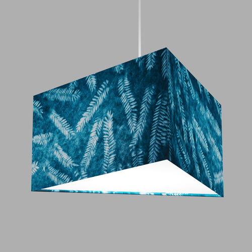 Triangle Lamp Shade - B106 ~ Resistance Dyed Teal Fern, 40cm(w) x 20cm(h)