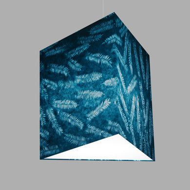 Triangle Lamp Shade - B106 ~ Resistance Dyed Teal Fern, 40cm(w) x 40cm(h)