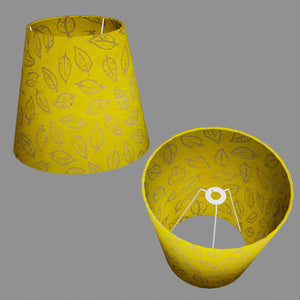 Conical Lamp Shade B107 ~ Batik Leaf Yellow, 23cm(top) x 35cm(bottom) x 31cm(height)