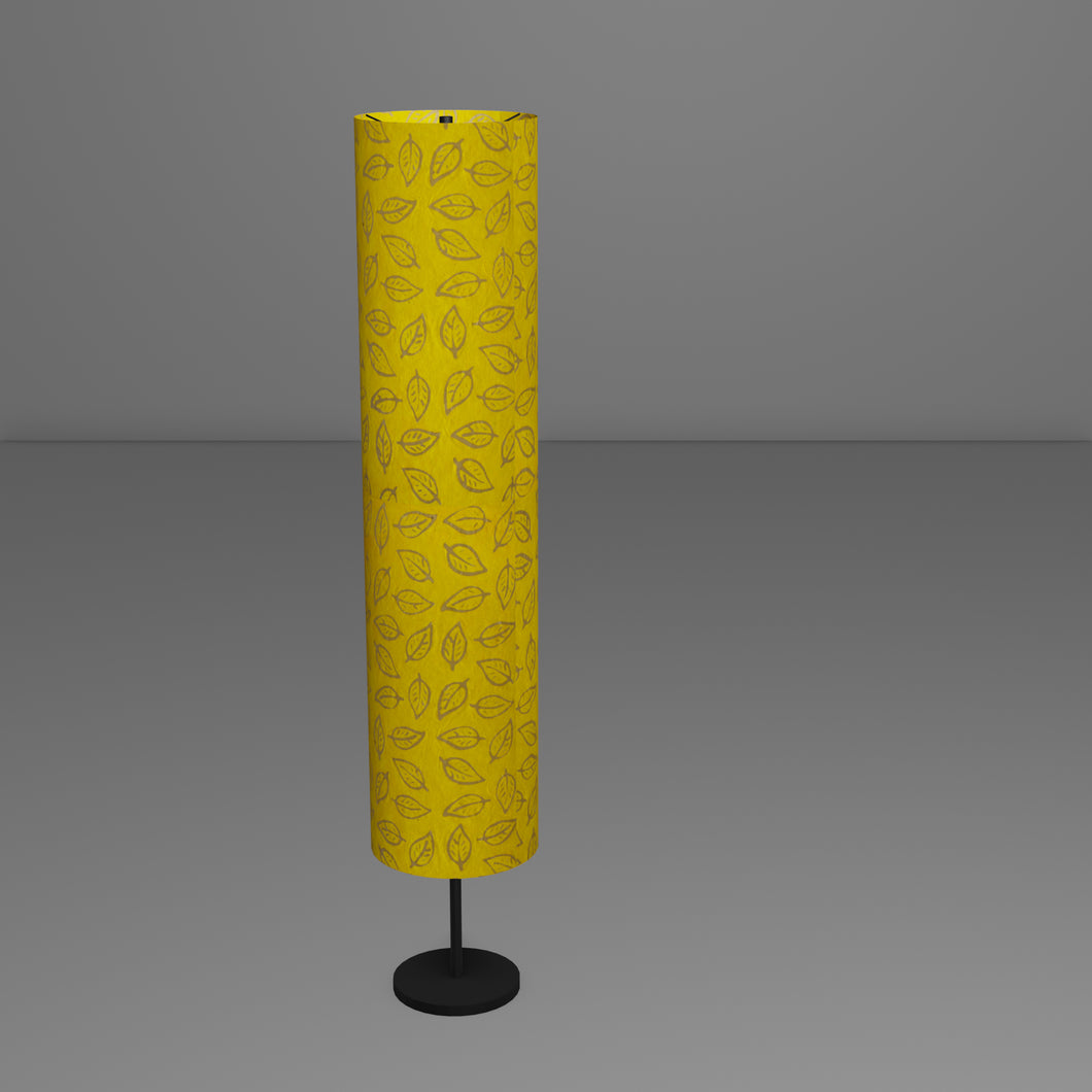 Drum Floor Lamp - B107 ~ Batik Leaf Yellow, 22cm(d) x 114cm(h)