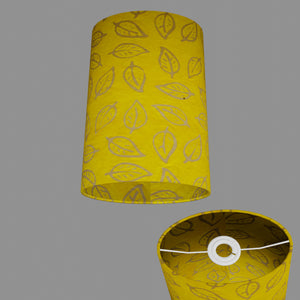 Oval Lamp Shade - B107 ~ Batik Leaf Yellow, 20cm(w) x 30cm(h) x 13cm(d)