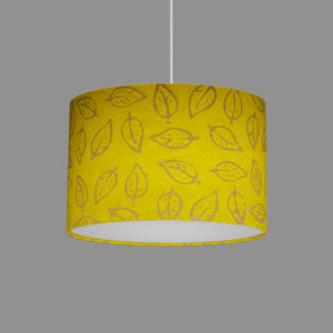 Oval Lamp Shade - B107 ~ Batik Leaf Yellow, 30cm(w) x 20cm(h) x 22cm(d)