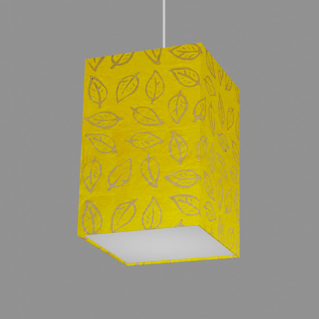 Square Lamp Shade - B107 ~ Batik Leaf Yellow, 20cm(w) x 30cm(h) x 20cm(d)