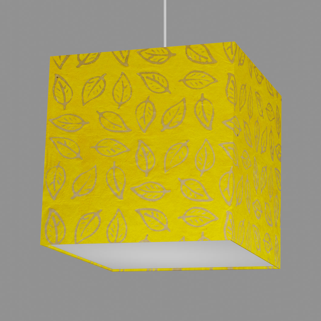 Square Lamp Shade - B107 ~ Batik Leaf Yellow, 30cm(w) x 30cm(h) x 30cm(d)