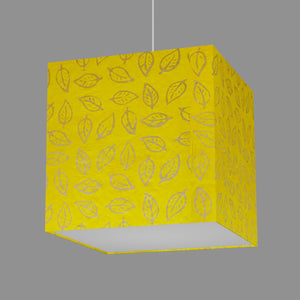 Square Lamp Shade - B107 ~ Batik Leaf Yellow, 40cm(w) x 40cm(h) x 40cm(d)