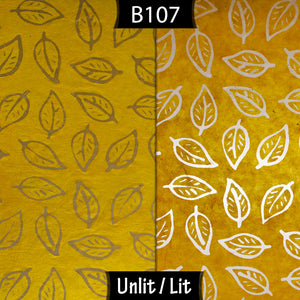Drum Lamp Shade - B107 ~ Batik Leaf Yellow, 40cm(d) x 30cm(h)