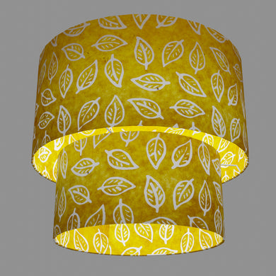 2 Tier Lamp Shade - B107 ~ Batik Leaf Yellow, 40cm x 20cm & 30cm x 15cm