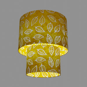 2 Tier Lamp Shade - B107 ~ Batik Leaf Yellow, 30cm x 20cm & 20cm x 15cm