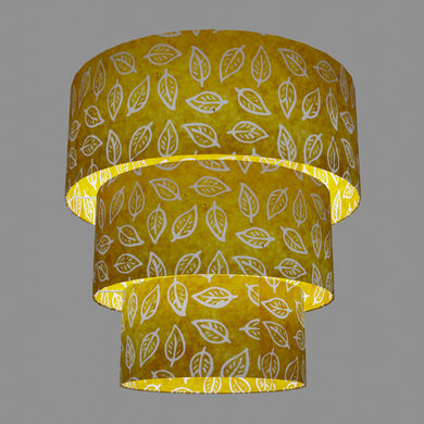 3 Tier Lamp Shade - B107 ~ Batik Leaf Yellow, 50cm x 20cm, 40cm x 17.5cm & 30cm x 15cm