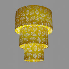 3 Tier Lamp Shade - B107 ~ Batik Leaf Yellow, 40cm x 20cm, 30cm x 17.5cm & 20cm x 15cm