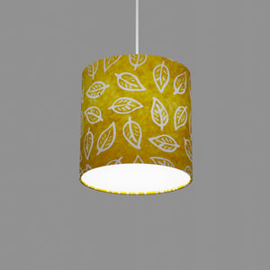 Drum Lamp Shade - B107 ~ Batik Leaf Yellow, 20cm(diameter)