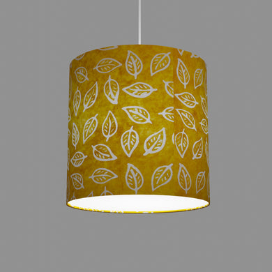 Drum Lamp Shade - B107 ~ Batik Leaf Yellow, 30cm(d) x 30cm(h)