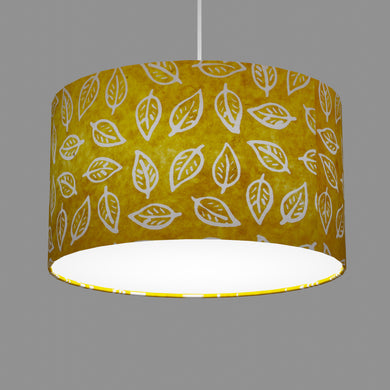 Drum Lamp Shade - B107 ~ Batik Leaf Yellow, 35cm(d) x 20cm(h)