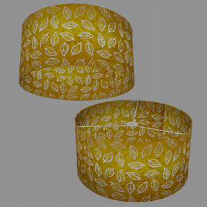 Drum Lamp Shade - B107 ~ Batik Leaf Yellow, 50cm(d) x 25cm(h)
