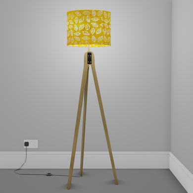 Oak Tripod Floor Lamp - B107 ~ Batik Leaf Yellow