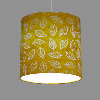 Oval Lamp Shade - B107 ~ Batik Leaf Yellow, 30cm(w) x 30cm(h) x 22cm(d)