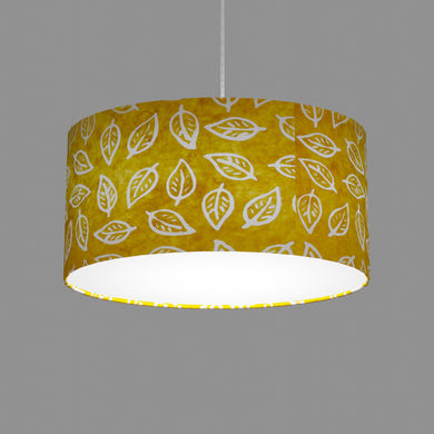 Oval Lamp Shade - B107 ~ Batik Leaf Yellow, 40cm(w) x 20cm(h) x 30cm(d)