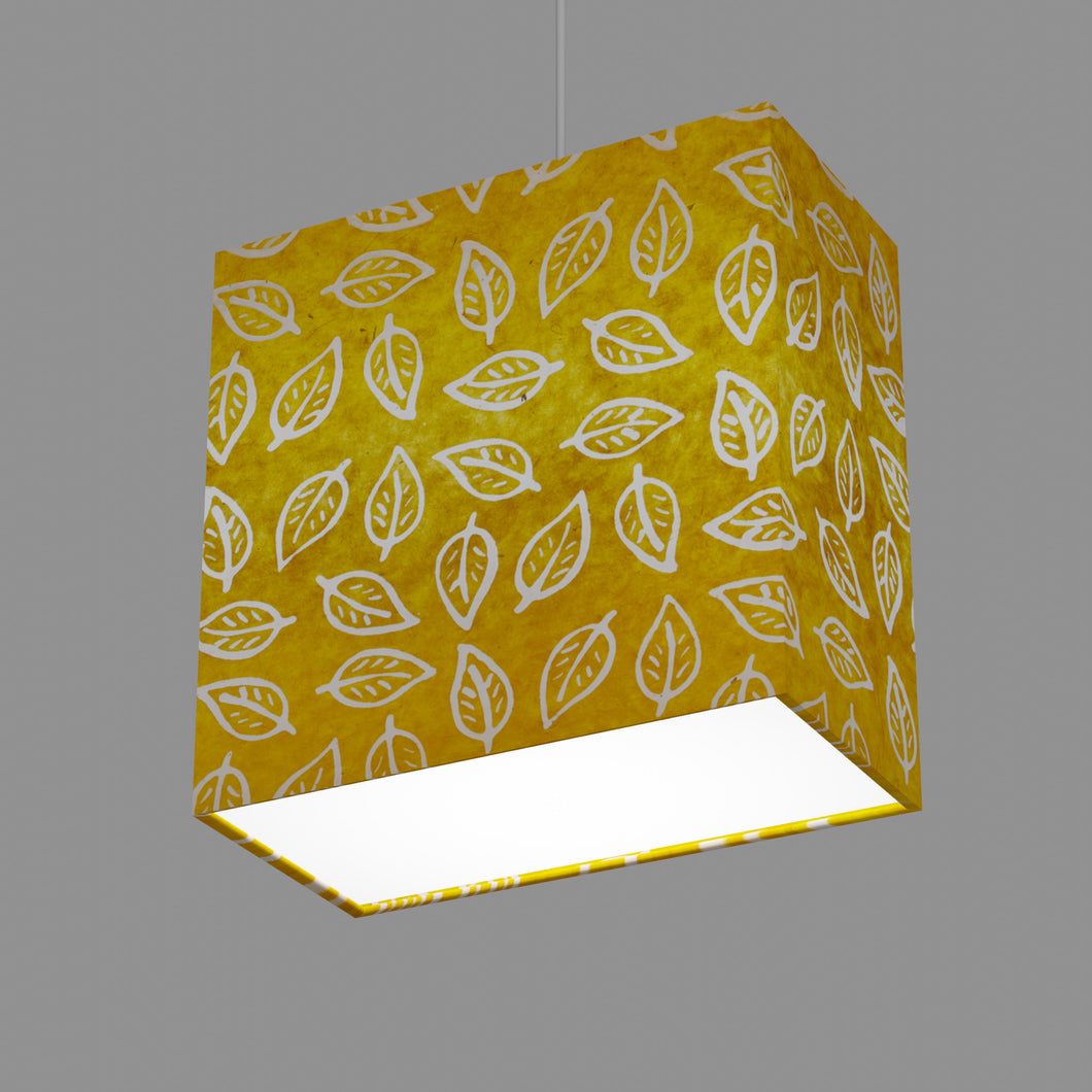 Rectangle Lamp Shade - B107 ~ Batik Leaf Yellow, 30cm(w) x 30cm(h) x 15cm(d)