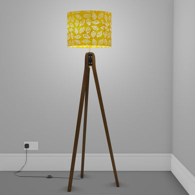 Sapele Tripod Floor Lamp - B107 ~ Batik Leaf Yellow