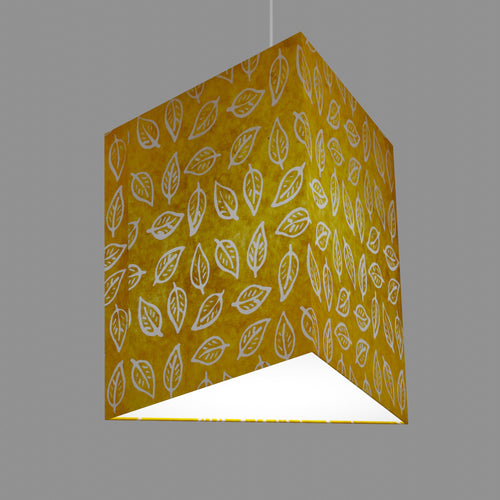 Triangle Lamp Shade - B107 ~ Batik Leaf Yellow, 40cm(w) x 40cm(h)