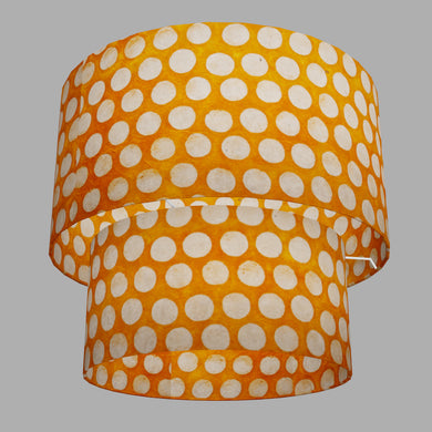 2 Tier Lamp Shade - B110 ~ Batik Dots on Orange, 40cm x 20cm & 30cm x 15cm