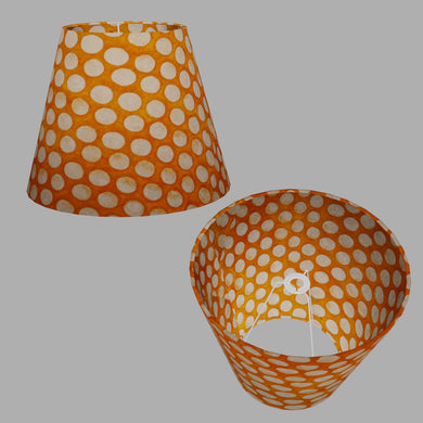 Conical Lamp Shade B110 ~ Batik Dots on Orange, 23cm(top) x 40cm(bottom) x 31cm(height)