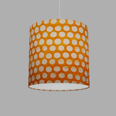 Drum Lamp Shade - B110 ~ Batik Dots on Orange, 30cm(d) x 30cm(h)