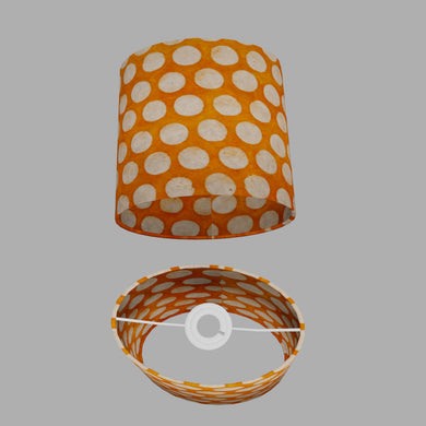 Oval Lamp Shade - B110 ~ Batik Dots on Orange, 20cm(w) x 20cm(h) x 13cm(d)