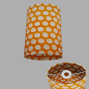 Oval Lamp Shade - B110 ~ Batik Dots on Orange, 20cm(w) x 30cm(h) x 13cm(d)