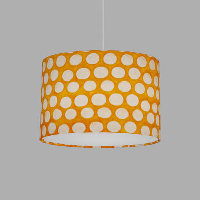 Oval Lamp Shade - B110 ~ Batik Dots on Orange, 30cm(w) x 20cm(h) x 22cm(d)