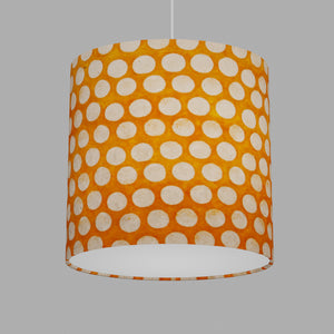 Oval Lamp Shade - B110 ~ Batik Dots on Orange, 30cm(w) x 30cm(h) x 22cm(d)