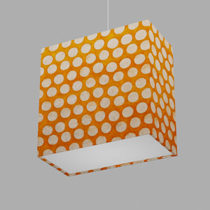 Rectangle Lamp Shade - B110 ~ Batik Dots on Orange, 30cm(w) x 30cm(h) x 15cm(d)