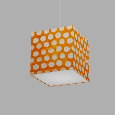 Square Lamp Shade - B110 ~ Batik Dots on Orange, 20cm(w) x 20cm(h) x 20cm(d)