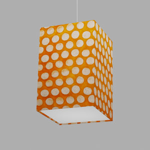 Square Lamp Shade - B110 ~ Batik Dots on Orange, 20cm(w) x 30cm(h) x 20cm(d)