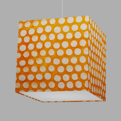 Square Lamp Shade - B110 ~ Batik Dots on Orange, 30cm(w) x 30cm(h) x 30cm(d)