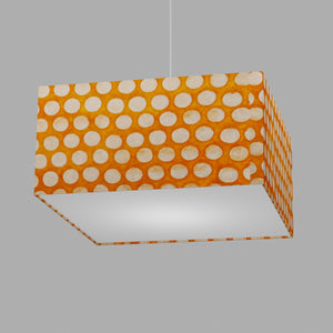 Square Lamp Shade - B110 ~ Batik Dots on Orange, 40cm(w) x 20cm(h) x 40cm(d)