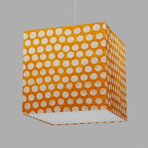 Square Lamp Shade - B110 ~ Batik Dots on Orange, 40cm(w) x 40cm(h) x 40cm(d)